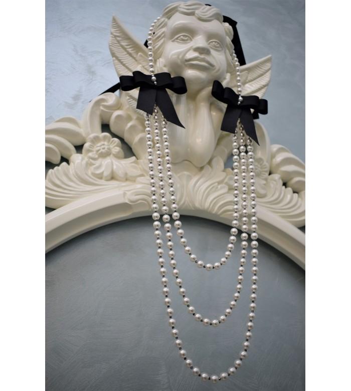 Colier in trei siraguri de perle cristal Swarovski si hematite, fundite cu perle si hematite cusute manual