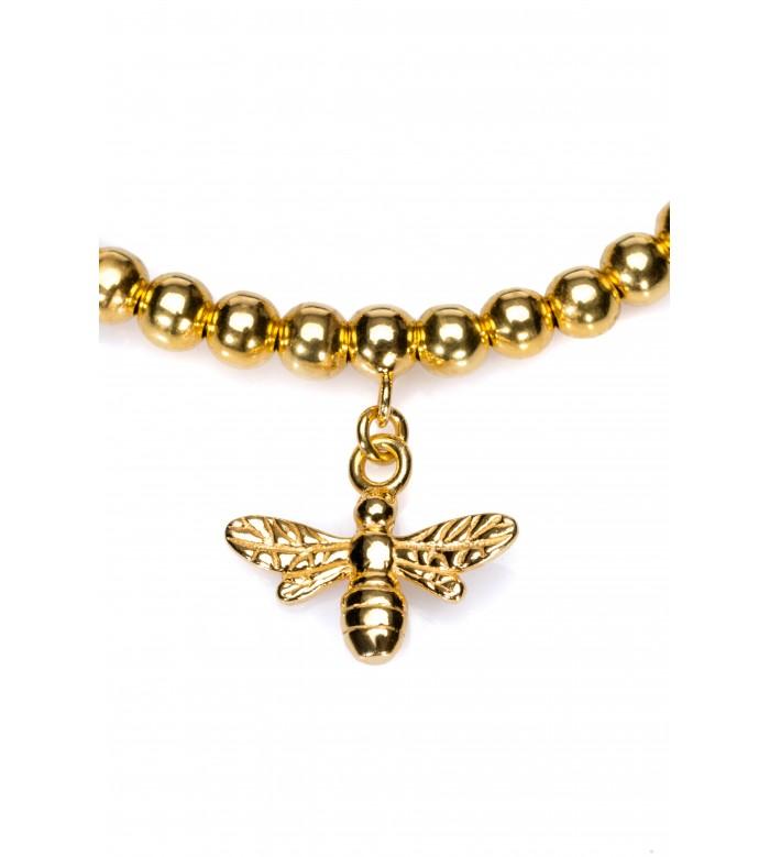 Brățară macrame cu bile și link albină din Ag 925 placat cu aur 24k