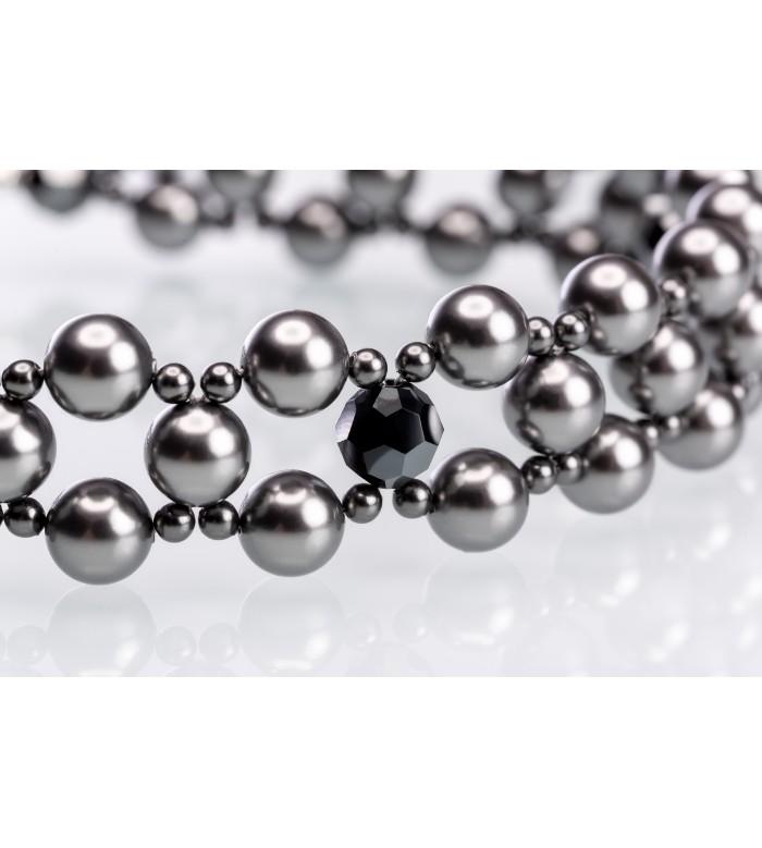 Choker împletit din perle și cristale Swarovski® cu finisaje din Ag 925 placate cu rodiu-alb